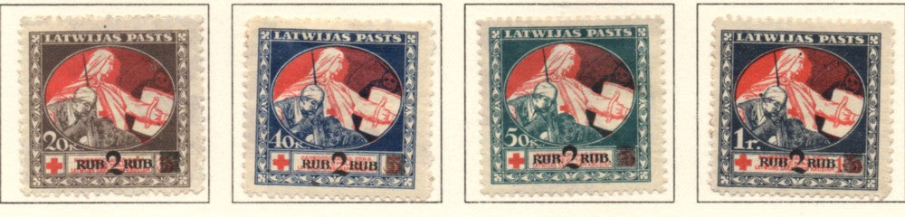 Latvia Scott  B13-16 1021 Mercy & Wounded Soldier stamp set mint