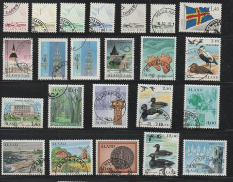 Aland Finland Scott  1-22 1984-1990 1st long stamp set used