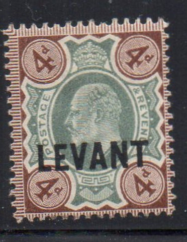 Great Britain Offices in Turkish Empire Sc 21 1905 LEVANT ovpt on 4d E VII stamp mint
