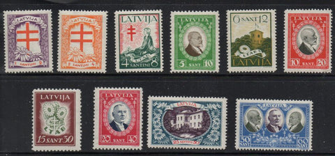 Latvia B56-65 1930 Anti TB stamp set mint