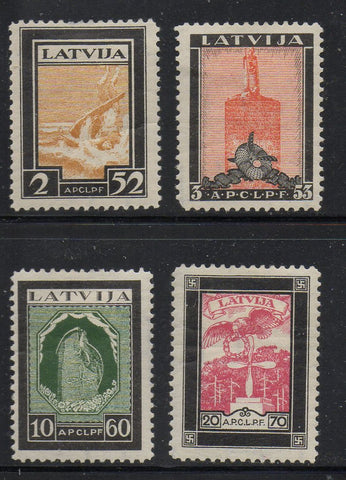Latvia CB14-17 1933 Aviators Tombs Charity stamp set mint