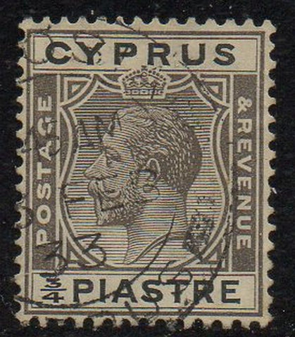 Cyprus Scott  93 1024 3/4 piastre gray black & black George V stamp used