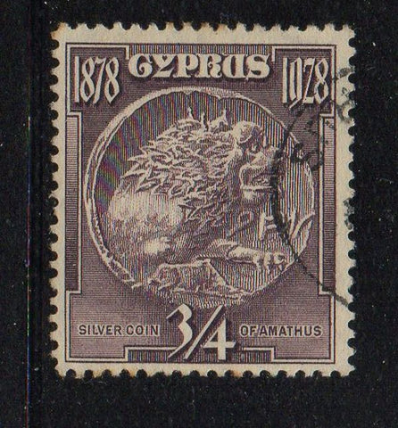 Cyprus Scott  114 1928 3/4 Piastre Silver Coin stamp used