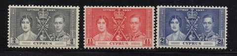 Cyprus Scott 140-2 1937 Coronation G VI stamp set mint NH