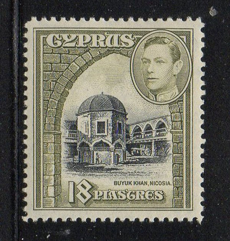 Cyprus Scott 152 1938 18 pi Buyuk Khan & G VI stamp mint