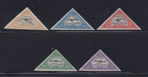 Estonia Scott  C9-13 1924 monoplane airmail imperforate stamp set mint