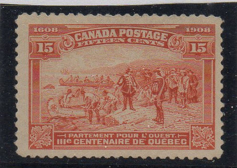 Canada Scott  102 1908 15c Champlain's Departure for the West stamp mint