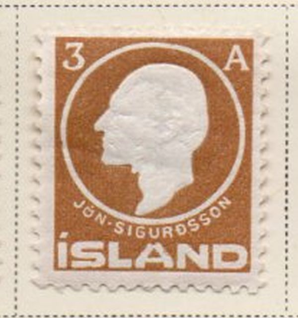 Iceland Scott 87 1911 3 aur light brown Sigurdsson stamp mint