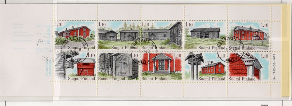 Finland Scott  626 1979 Farm Houses stamp booklet pane used