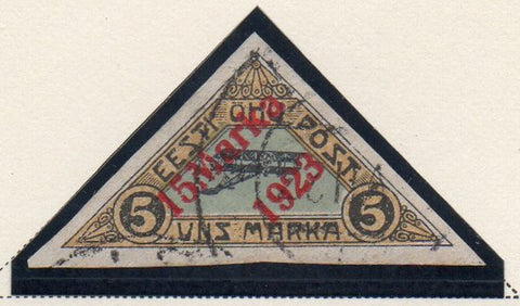 Estonia Sc C3 1923 red 15 Marka 1923 overprinted airmail stamp used