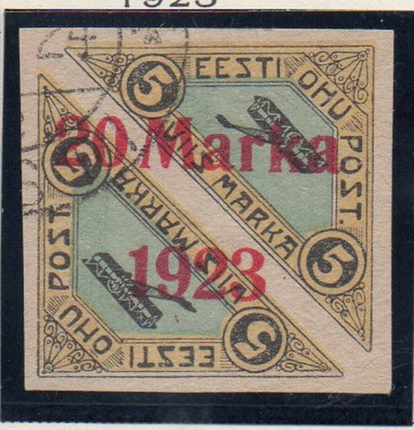 Estonia Sc C5 1923 red 20 Marka 1923 overprinted airmail stamp used