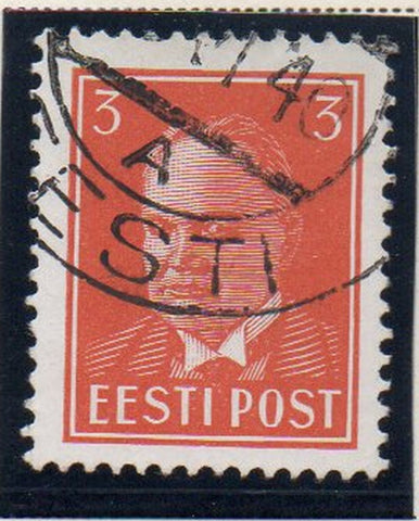 Estonia Sc 119 1940 3s deep orange President Pats stamp used