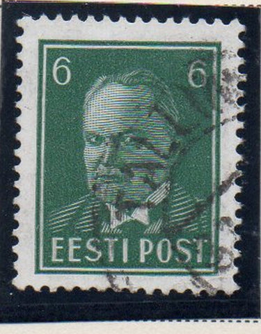Estonia Sc 123 1940 6s deep green President Pats stamp used