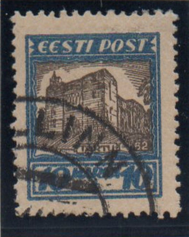Estonia Sc B16 1927 10m + 10m Tartu Cathedral stamp used