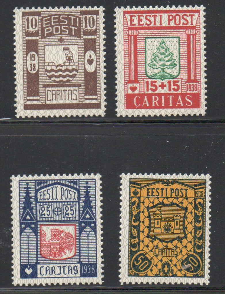 Estonia Scott  B36-39 1938 Coats of Arms stamp set mint NH