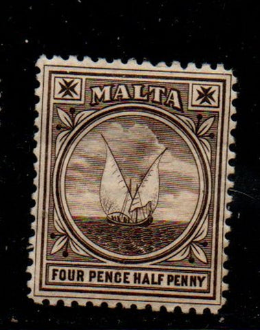 Malta Sc 15 1899 4 1/2d black brown fishing boat stamp mint