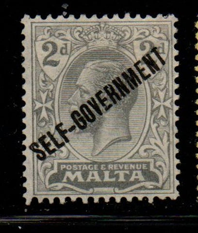 Malta Sc 89 1922 2d gray George V Self-Government overprint stamp mint