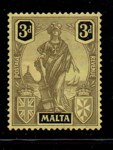 Malta Sc 106 1926 3d black on yellow Statue of Malta stamp mint