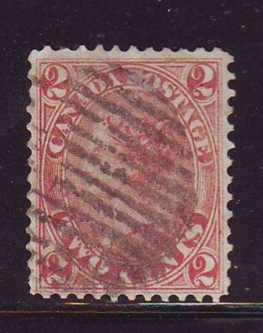 Canada Scott  20 1864 2 c rose Victoria stamp used
