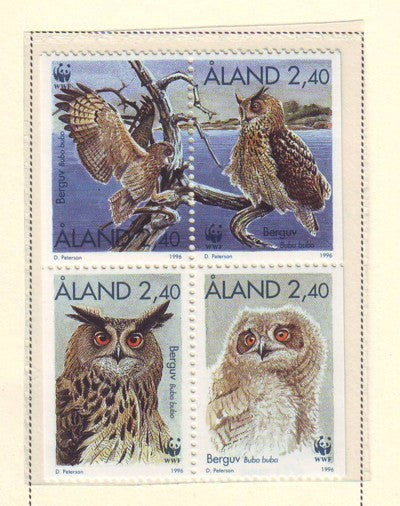 Aland Scott  122-5 1996 Eagle Owl WWF stamp set mint NH