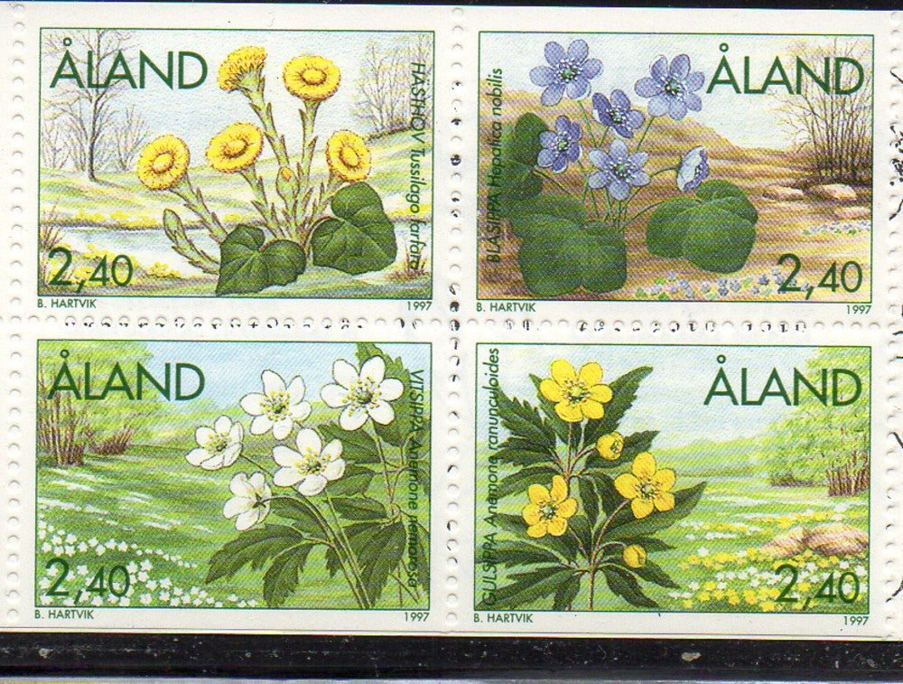 Aland Scott  130-33 1997 Spring Flowers stamp set  mint NH