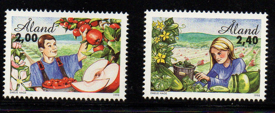 Aland Scott  138-9 1998 Horticulture stamp set mint NH