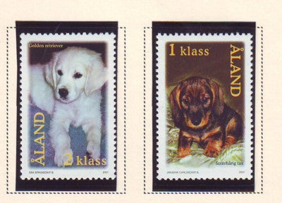 Aland Scott  191-2 2001 Dogs stamp set mint NH