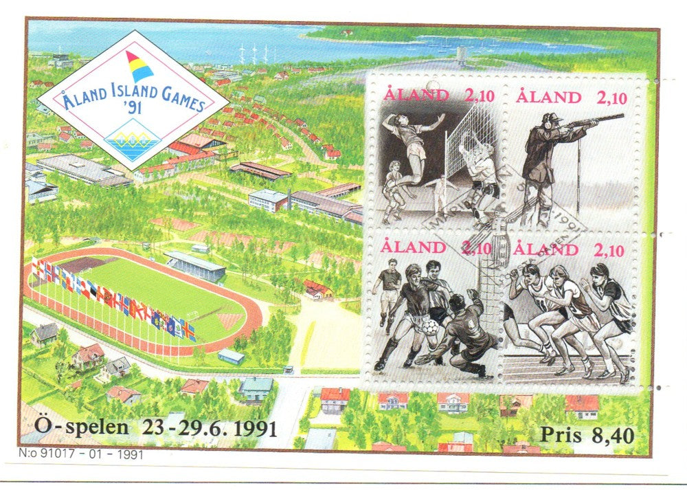 Aland Scott 58 1991 Aland Island Games stamp sheet used