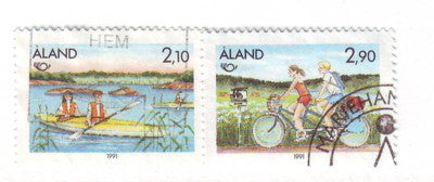 Aland Finland Scott 60-1 1991 Kayaking & Cycling stamp set used