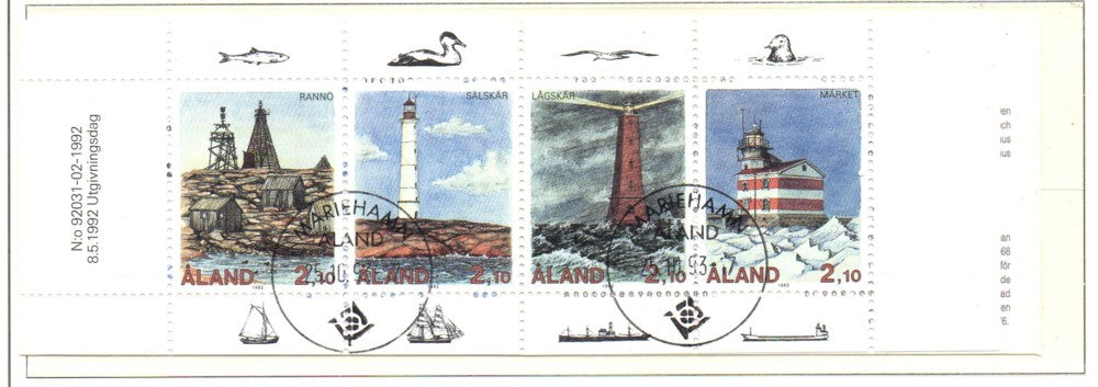 Aland Scott 67a 1992 Lighthouse stamp booklet pane used