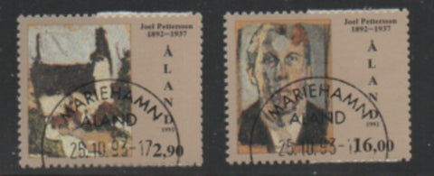 Aland Finland Scott 69-70 1992 Pettersson Painter stamp used