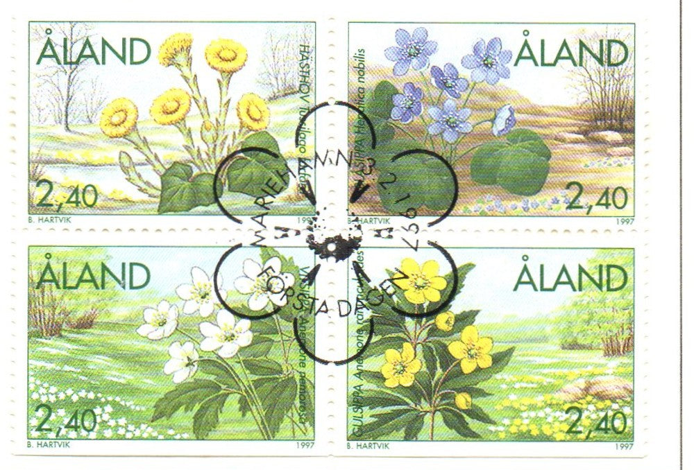 Aland Scott  130-33 1997 Spring Flowers stamp set used