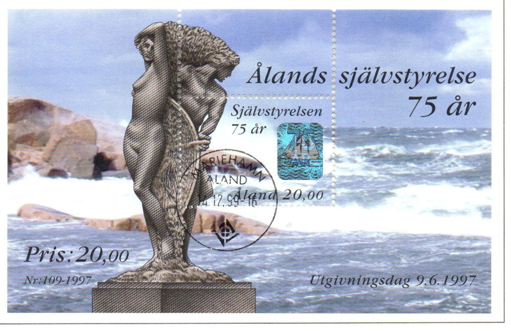 Aland Scott 137 1997 75th Anniversary Autonomy stamp sheet used