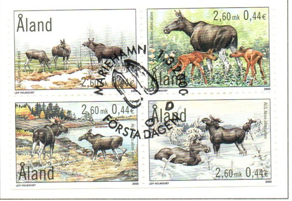 Aland Scott  165a 2000 Elk stamps block of 4 used