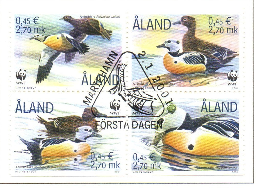 Aland Scott  185 2001 Ducks stamps block of 4 used