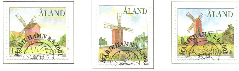 Aland Scott  188-90 2001 Windmills stamp set used