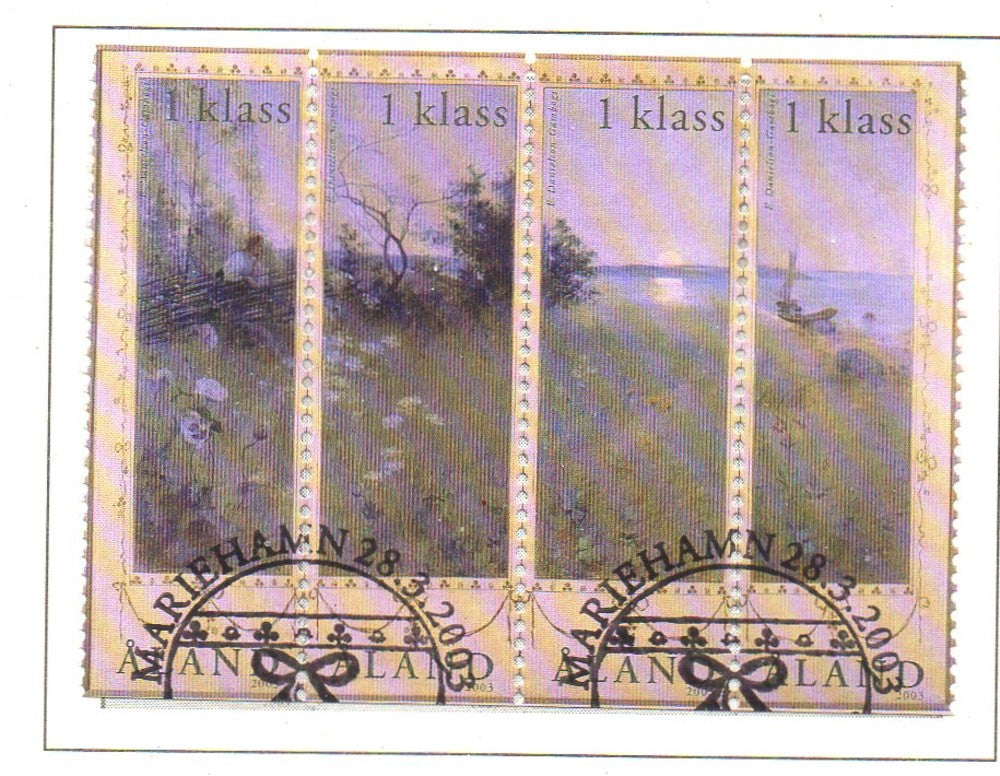 Aland Scott  212 2002 Painting strip of 4 stamps used