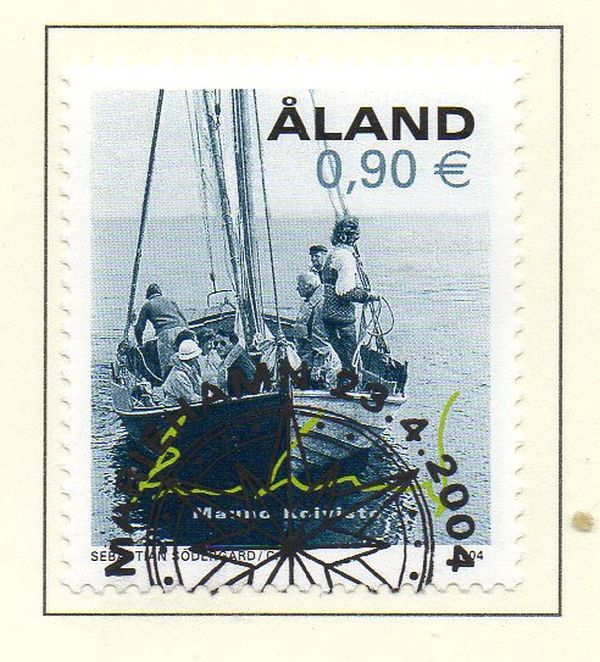 Aland Scott  223 2004 Finnish President in Boat stamp used