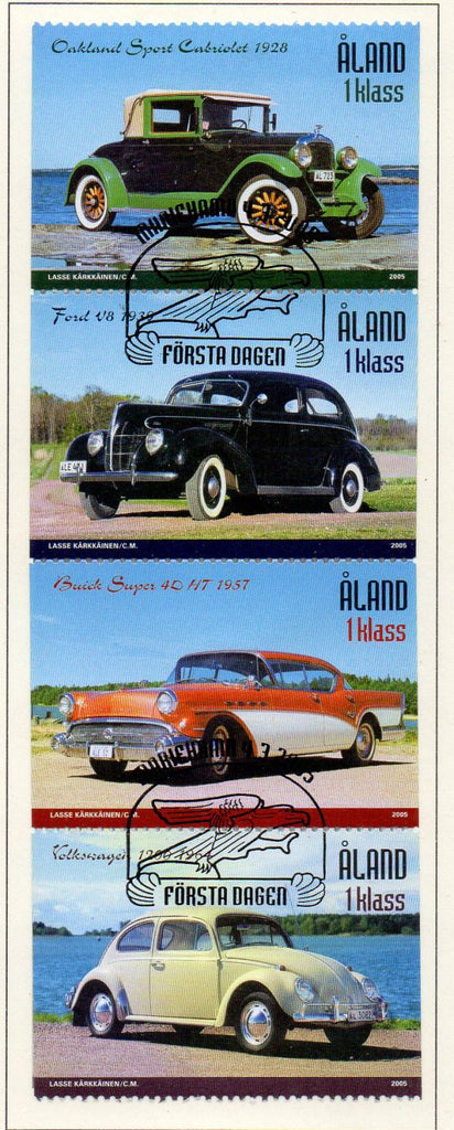 Aland Finland Scott  233 2005 Classic Cars stamp set used