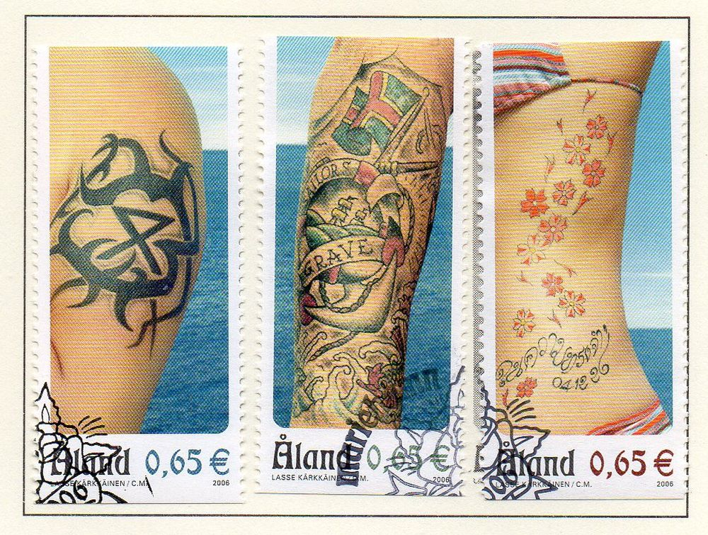 Aland Finland Scott  250a-c 2006 Tattoo singles stamp set used