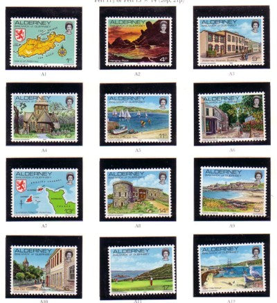 Alderney Sc 1-12 1983 1st stamp set mint NH