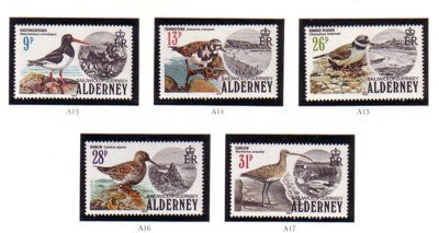 Alderney Scott 13-17 1984 Birds stamp set mint NH