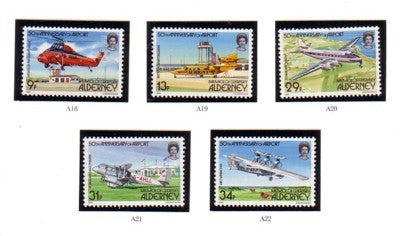 Alderney Sc 18-22 1985 50th Anniversary Airport stamp set mint NH