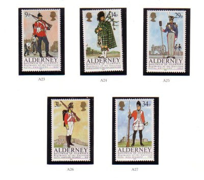 Alderney Scott 23-27 1985 Garrison Uniforms stamp set mint NH