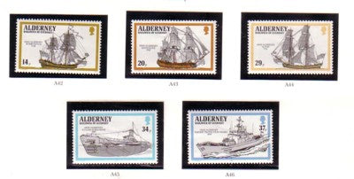 Alderney Sc 55-59 1990 Ships stamp set mint NH