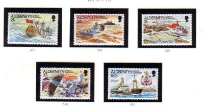 Alderney Scott 60-4 1991 Casquets Lighthouse stamp set mint NH
