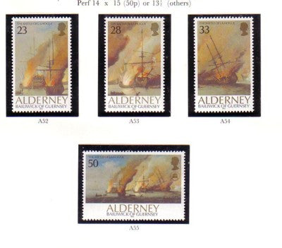 Alderney Scott 65-8 1992 Battle of  la Hogue stamp set mint NH