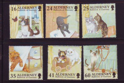 Alderney Scott 92-7 1996 Domestic Cats stamp set mint NH