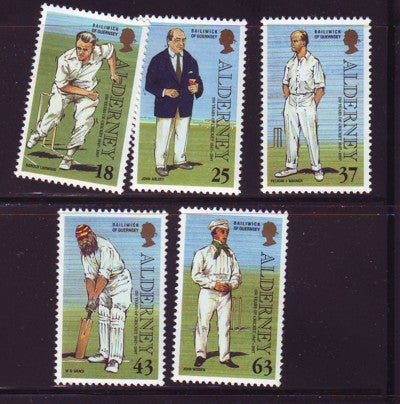 Alderney Scott 101-5 1997 Cricket Club stamp set mint NH