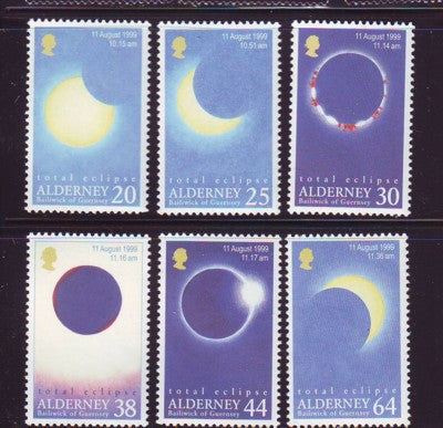 Alderney Scott 128-33 1999 Total Eclipse stamp set mint NH